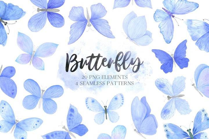 Watercolor Blue Butterfly clipart