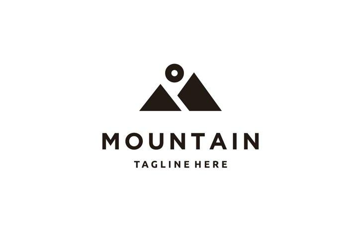 Minimalist mountain letter M letter logo design icon