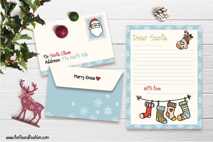 Santa Claus and Xmas socks Doodle letter template