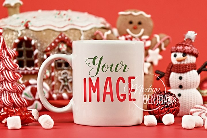 Gingerbread Christmas Coffee Mug Mock Up, JPG Cup Mockup
