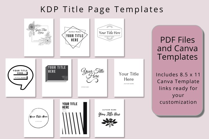 Title Page Templates for Books, Planners, Low Content KDP