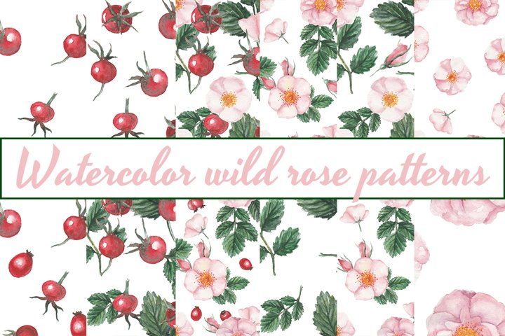 Watercolor Wild Rose Patterns
