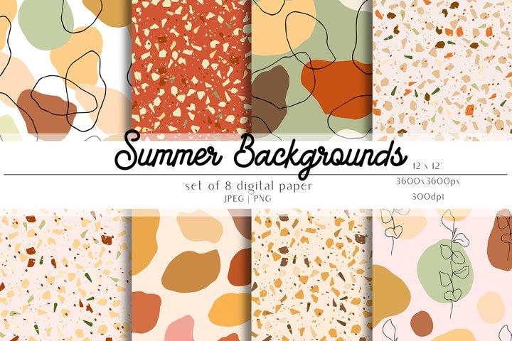 Summer Digital Paper Set - Summer Backgrounds