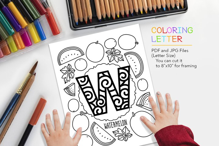 Letter W - Watermelon Coloring Page