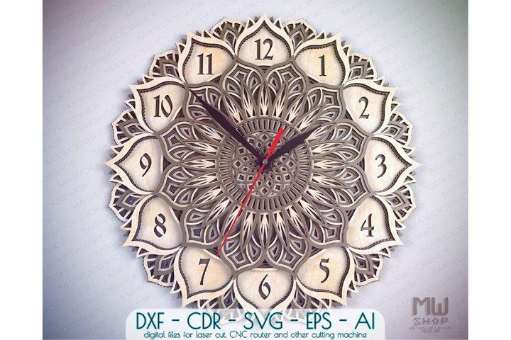 C21 - Laser Cut Wall Clock DXF, Mandala Clock, Wooden Clock