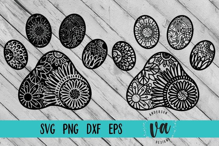 Paw Print Zentangle SVGs