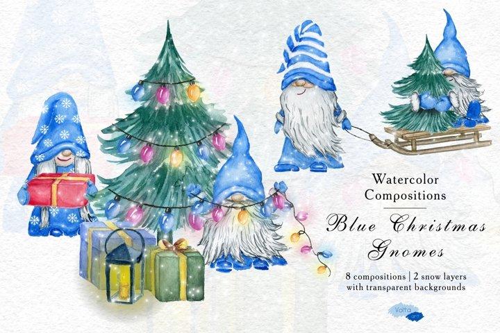 Christmas Watercolor Blue Gnomes, Scandinavian PNG, Yule