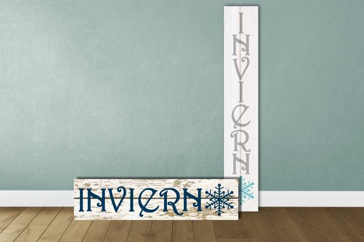 Invierno Winter Porch Sign SVG Design