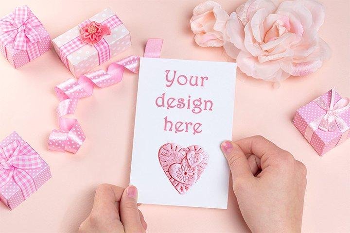 Valentines Day card mockup, PSD smart object