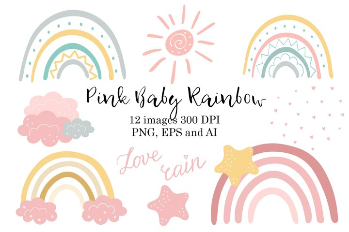 Pink Baby Rainbow clipart