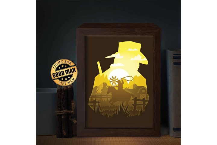 COWBOY 1 3D Paper Cutting Light Box - Shadow Box