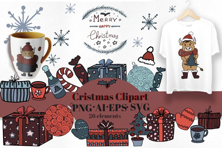 Scandinavian Christmas set. Vector flat New Year clipart. example