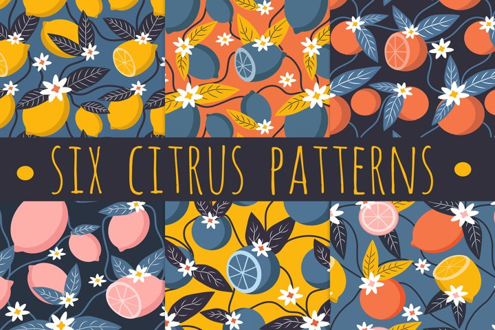 six cute seamless vector summer pattern with citrus