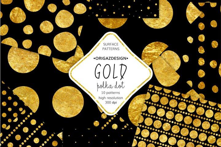 Gold foil Polka dot Black Seamless Pattern