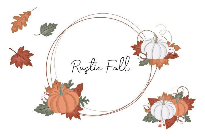 Rustic Fall Pumpkin Decorative Set, Autumn Leaves Wreath