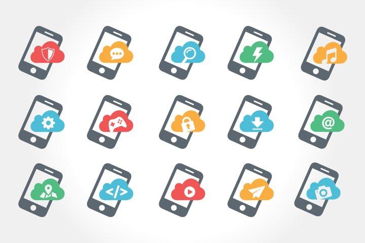 mobile phone feature icon set