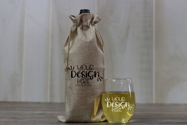 Winter Wine Bag And Glass Mockup, Styled Stock Photography
