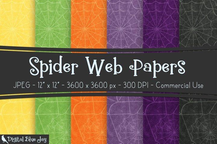 Digital Scrapbook Paper Backgrounds - Halloween Spider Web