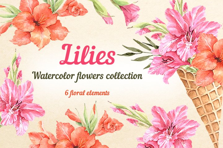 Lilies watercolor flower collection
