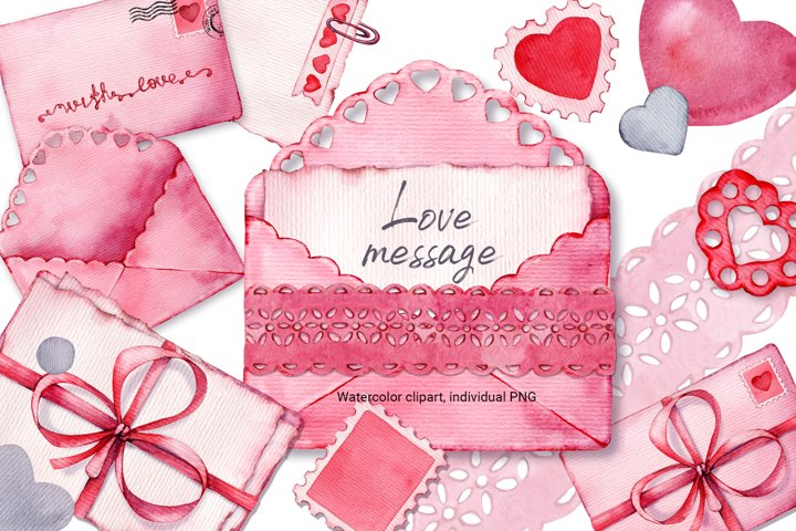 Romantic pink envelope love message, watercolor, mail