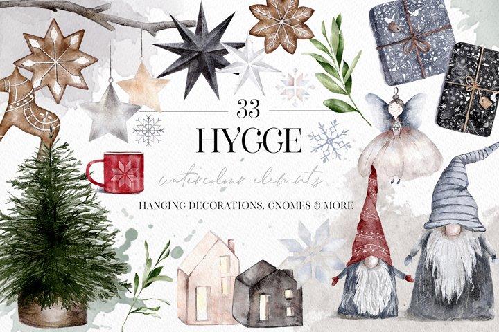 Hygge Christmas Watercolor Illustrations Festive Clip Art