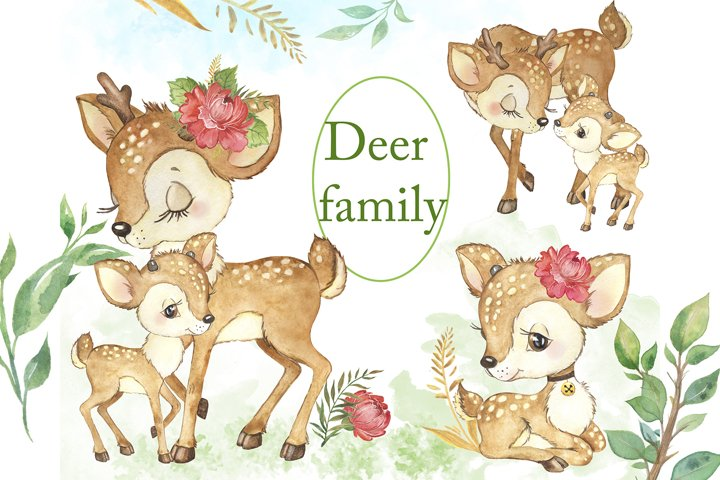 Baby deer watercolor clipart. Mom and baby. Forest animals