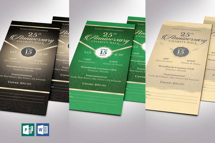 Anniversary Banquet Ticket Bundle Word Publisher Template