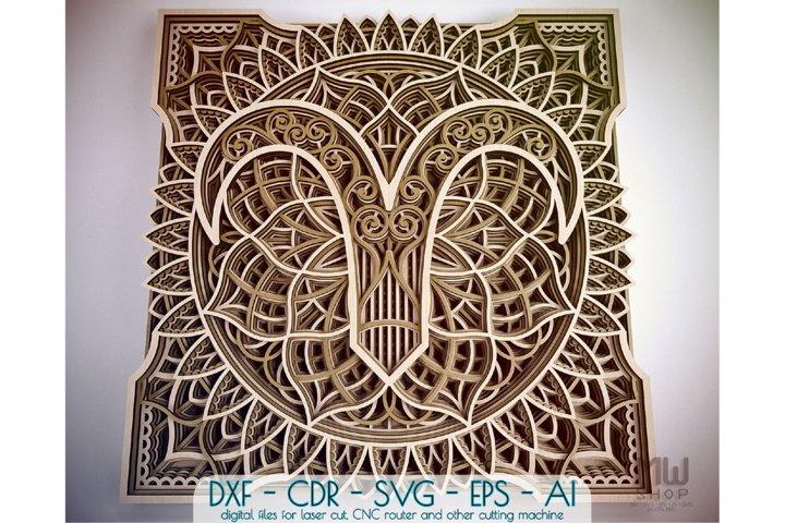 Aries Zodiac Sign, Multilayer Aries Mandala