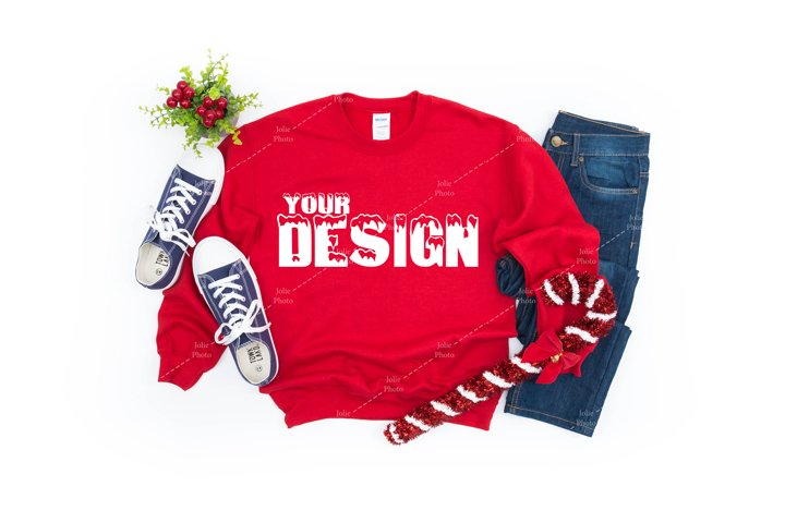 Gildan 18000 Crewneck Sweatshirt Red T-shirt Mockup Winter