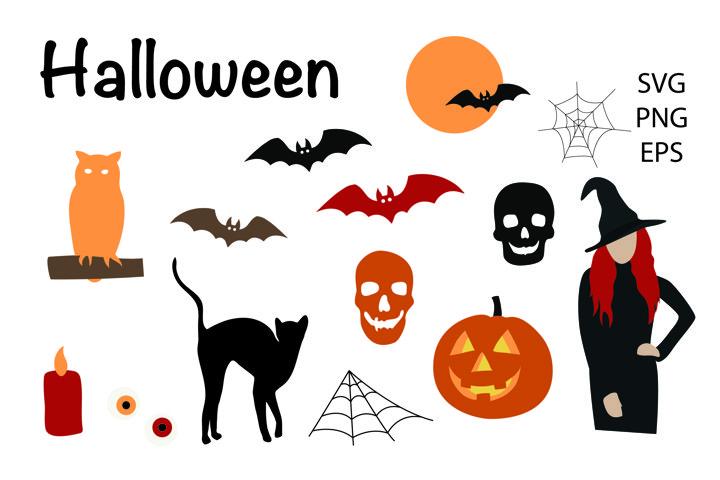 Halloween elements svg, bats witch owl cat pumpkin svg