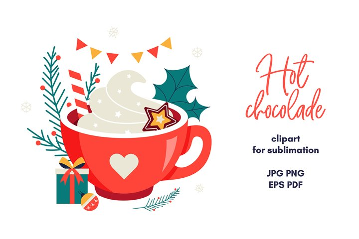 Hot chocolade sublimation Christmas sublimation design