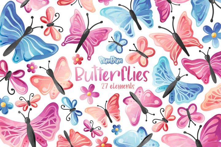 Butterflies Watercolor Cliparts