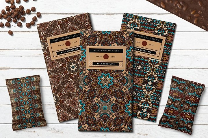 10 Boho style vector Seamless Patterns pack