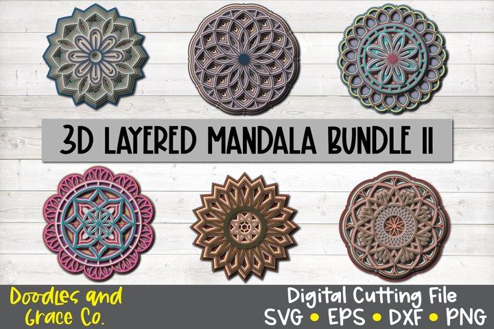 3D Layered Mandala Bundle - SVG - PNG - EPS - DXF