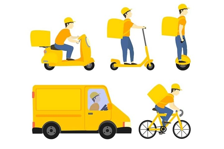 Deliver on the different delivery service vehicles.