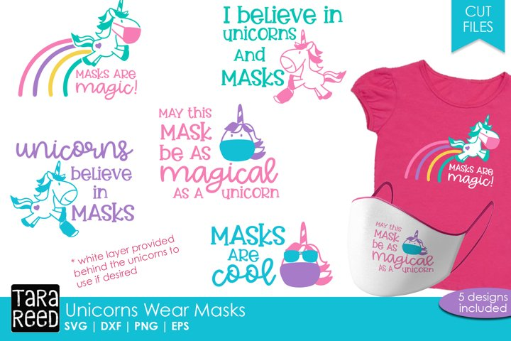 Unicorn Face Mask Sayings - SVG and Cut Files for Crafters