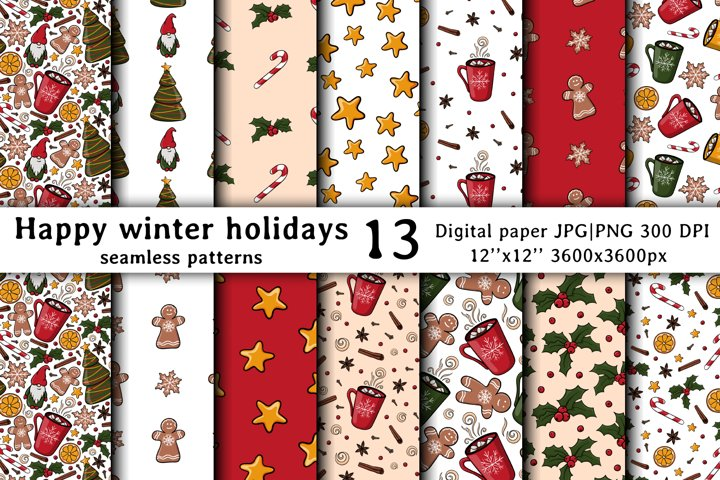Christmas & New year Digital papers JPG PNG Seamless pattern