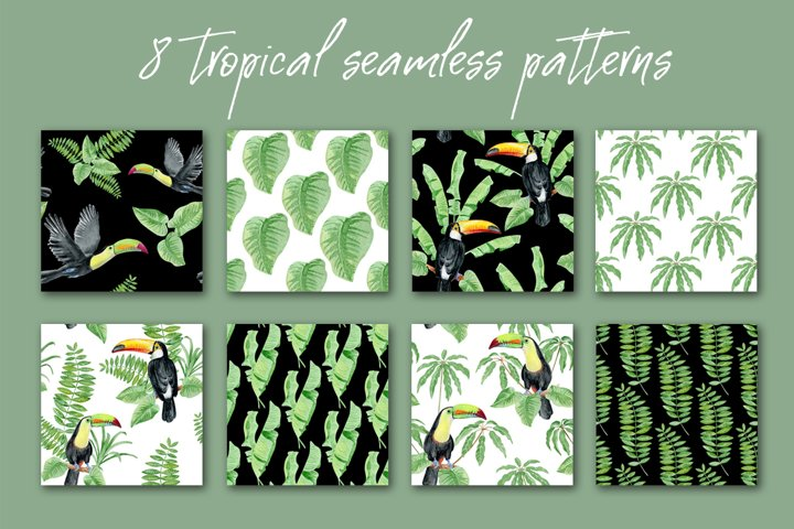 8 watercolor tropical seamless patterns