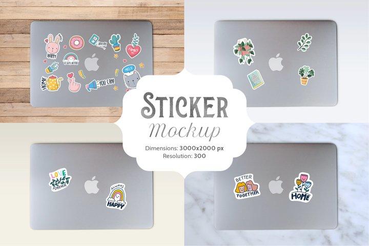 Laptop sticker mockup | 1 PSD file with 4 bonus images