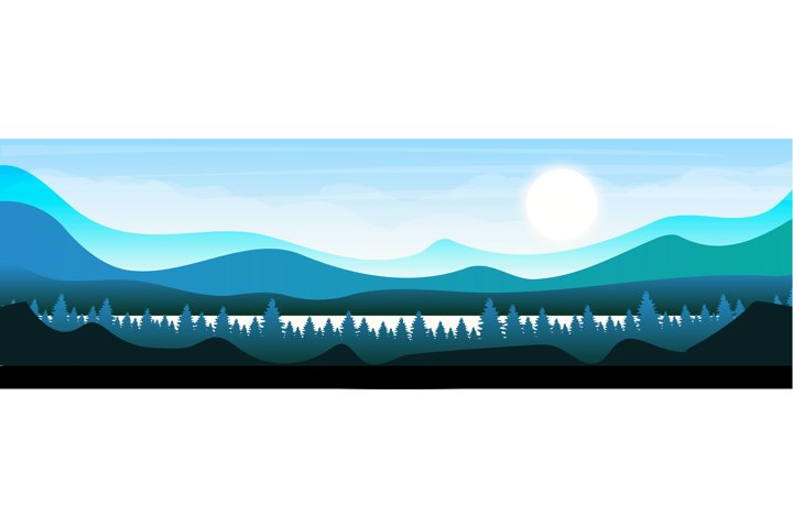 Morning in woodland flat color vector illustration