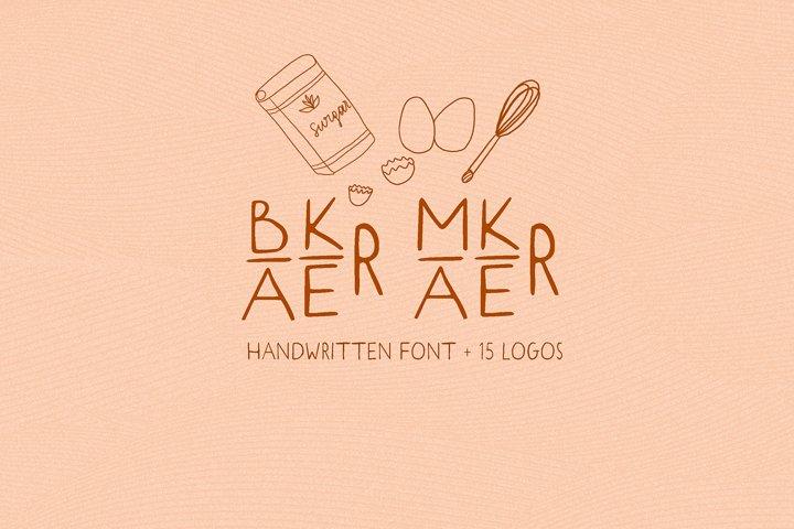 Baker Maker. Sans SERIF font. 15 Logos. Kitchen Doodles