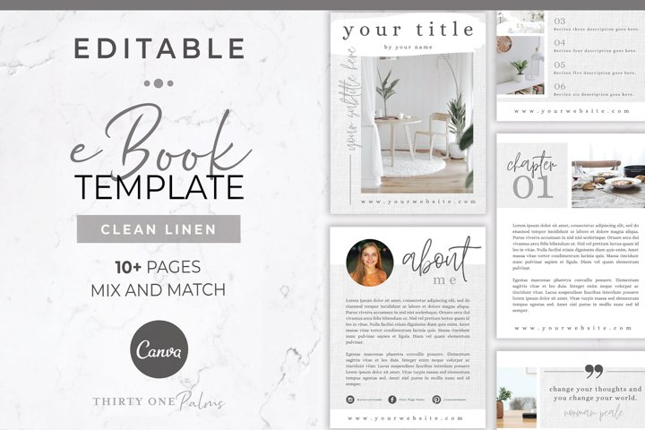 eBook Template for Canva | White Linen