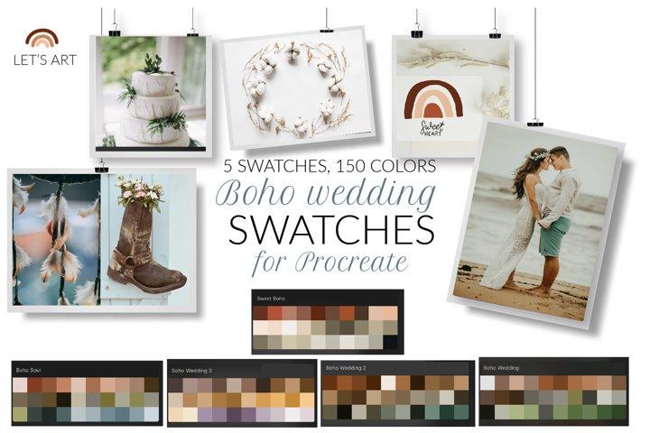 Boho wedding Procreate palette. Bohemian color swatches