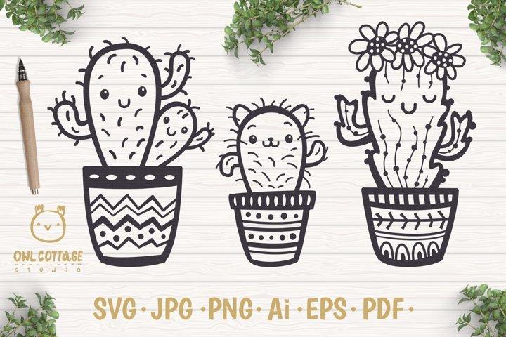 Cute Cacti mini SVG Bundle , I love Cacti cut file
