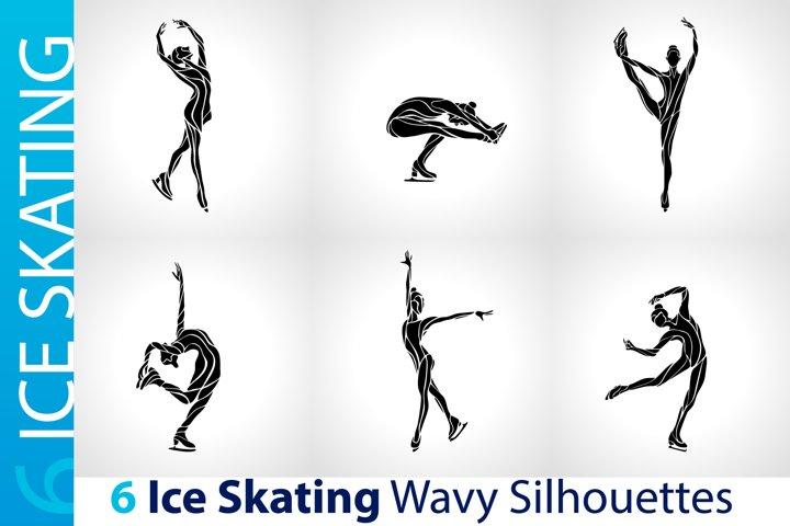 Ice Skating Silhouettes set