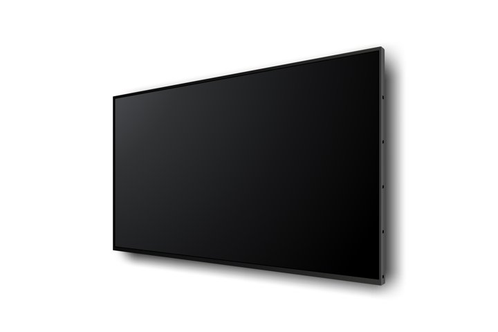 Wall wide television screen mockup with perspective view