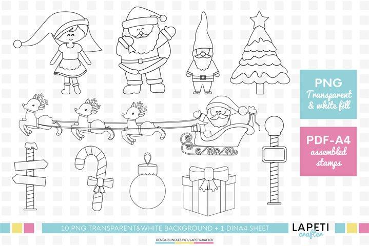 Christmas digital stamp, Santa Claus png coloring clipart