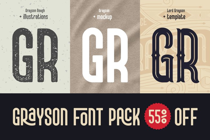 Grayson Font Pack. 55 OFF!