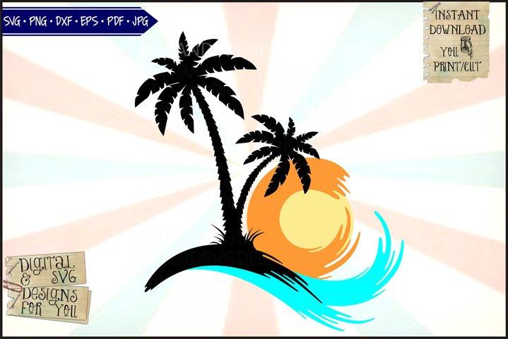 Sunset island | Beach waves | Palm trees | silhouette