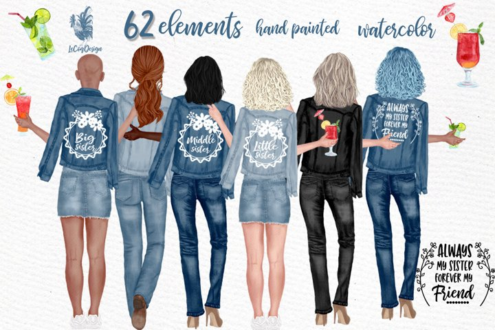 Best Friends Clipart Jeans Jackets,Mug designs,Planner girls